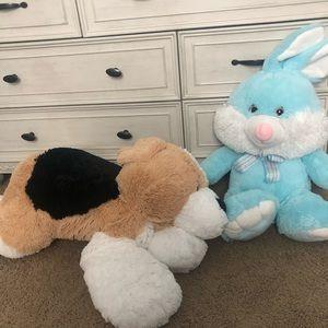 Large Stuffed Animals Bunny and Dog